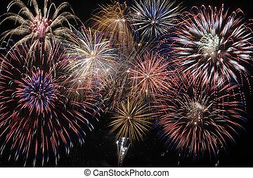 cascade firework - big cascade fireworks at sky in night
