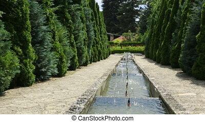 Cascade fountain in botanical garden