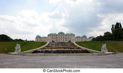 Cascade fountain in The Belvedere complex in cloudy day -...