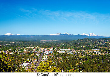 Cascade Mountains - View of Bend and part of the Cascade ...