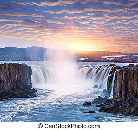 Cascade of Selfoss waterfall in Iceland