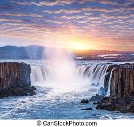 Cascade of Selfoss waterfall in Iceland