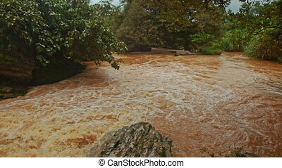 Cascade of Stormy Mountain Brown Water River among Stones