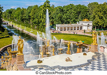 cascade, peterhof, rue petersburg, grandiose