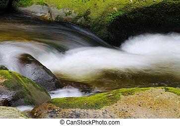 Cascade - Detail of small beautiful cascade between mossy...