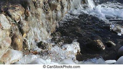In the urban landscape park Yuzhnoye Butovo, the freezing cascade pond