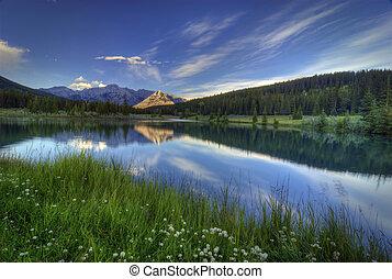 Cascade Ponds near Banff in Banff National Park Canada....
