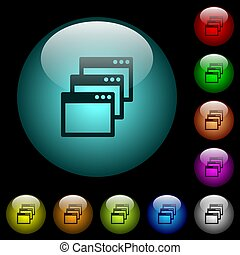 Cascade window view mode icons in color illuminated glass buttons
