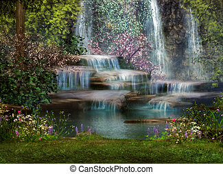 a magical landscape with waterfalls, flowers and trees