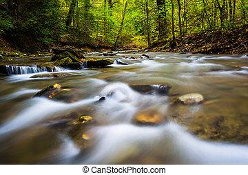 Cascades in a stream at Tucquan Glen, in Lancaster County,...