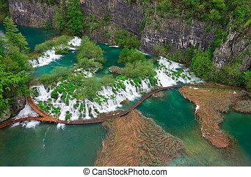 Cascades near the tourist path in Plitvice lakes national park, Croatia