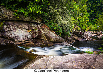 Cascades on the Cullasaja River in Nantahala National...