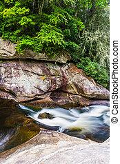 Cascades on the Cullasaja River in Nantahala National...