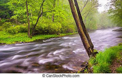 Cascades on the Gunpowder River near Prettyboy Reservoir in Baltimore County, Maryland.