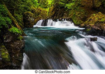 Cascades on the Little White Salmon River below Spirit Falls, in the Columbia River Gorge, Washington.