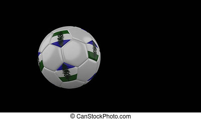 Cascadia flag on flying and rotating soccer ball on transparent alpha channel