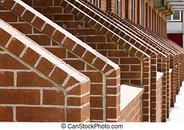 Cascading Rows Of Brick Stairs - An angular view of a...