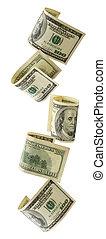 Cascading US Dollars - Cascading US hundred dollar bills. ...