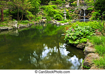 Cascading waterfall and pond