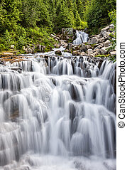 Cascading waterfall at Mount Rainier National Park, ...