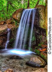 cascading waterfall in Crimea landscape park