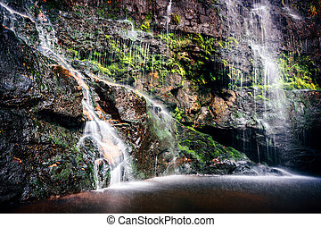 Cascading waterfall into rock pool in Blue Mountains National Park