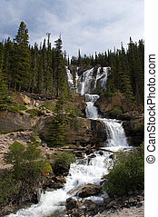 Cascading waterfalls in the wilderness