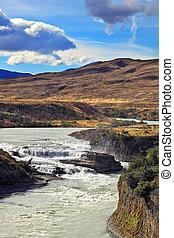Cascading waterfalls Paine foam summer