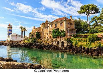 cascais, 灯塔, 在中, 葡萄牙