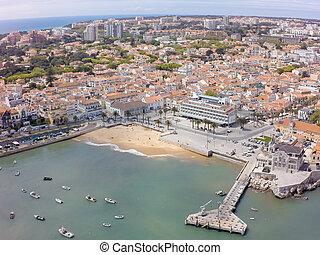cascais, 航空写真, ポルトガル, 海岸線, リスボン, 光景