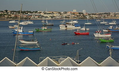 Cascais, PORTUGAL - september, 2015: Coloful fishing boats in the port of Cascais in Lisbon region.