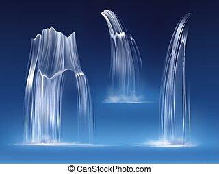 cascata, acqua, realistico, cascata, flussi, cadere