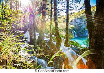 cascata, con, raggi luce sole, in, plitvice