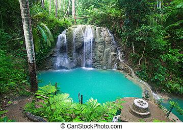 cascata, di, isola, di, siquijor., filippine