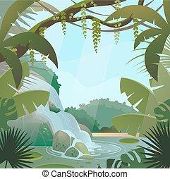 cascata, giungla, palme, foresta pluviale