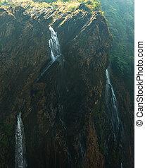 cascata, in, estate