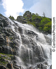 cascata, in, il, montagna