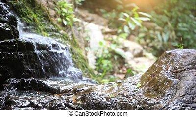 cascata, in, il, montagne., natura, fondo, con, cambiamento, fuoco, e, spostamento, macchina fotografica., hd., 1920x1080