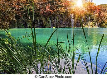 cascata, in, il, parco nazionale, plitvice, lakes., croatia.