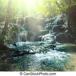 cascata, in, messico