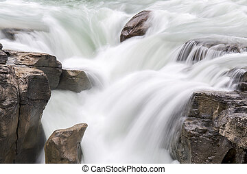cascata, -, jasper parco nazionale, canada