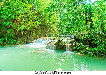 cascata, parco nazionale, erawan, tailandia, kanchanaburi