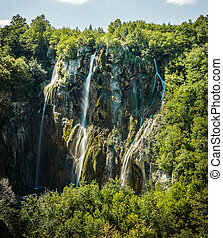 cascate, in, parco nazionale, plitvice, laghi