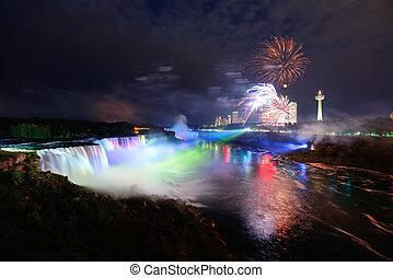 cascate niagara, e, fireworks