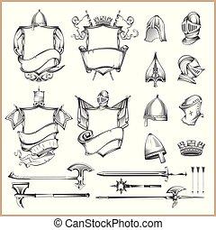 caschi, elementi, medievale, araldico, collezione, armi, vettore