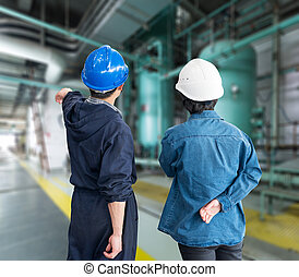 caschi, f, lavorante, lavoro, costruzione, posto, squadra