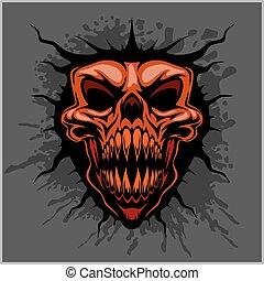 casco, aggressivo, motocross, cranio