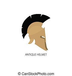casco, aislado, antigüedades, griego, romano, blanco, o