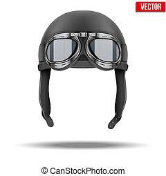 casco, aislado, aviador, retro, blanco, goggles., piloto