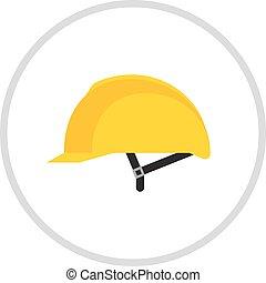 casco, aislado, vector., amarillo, blanco